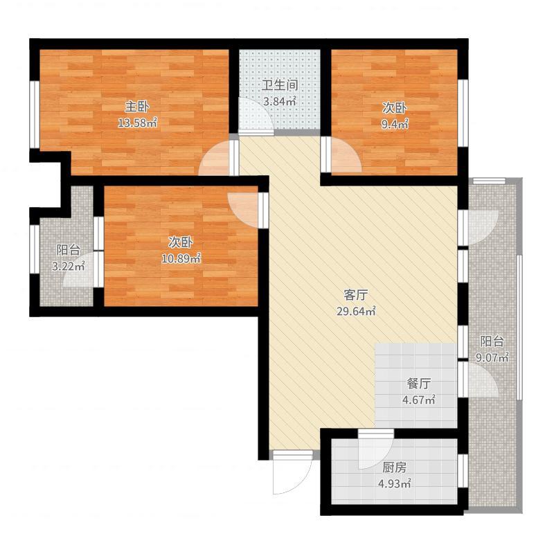 永定河孔雀城英国宫109.00㎡N1b-01户型3室2厅2卫-副本户型图
