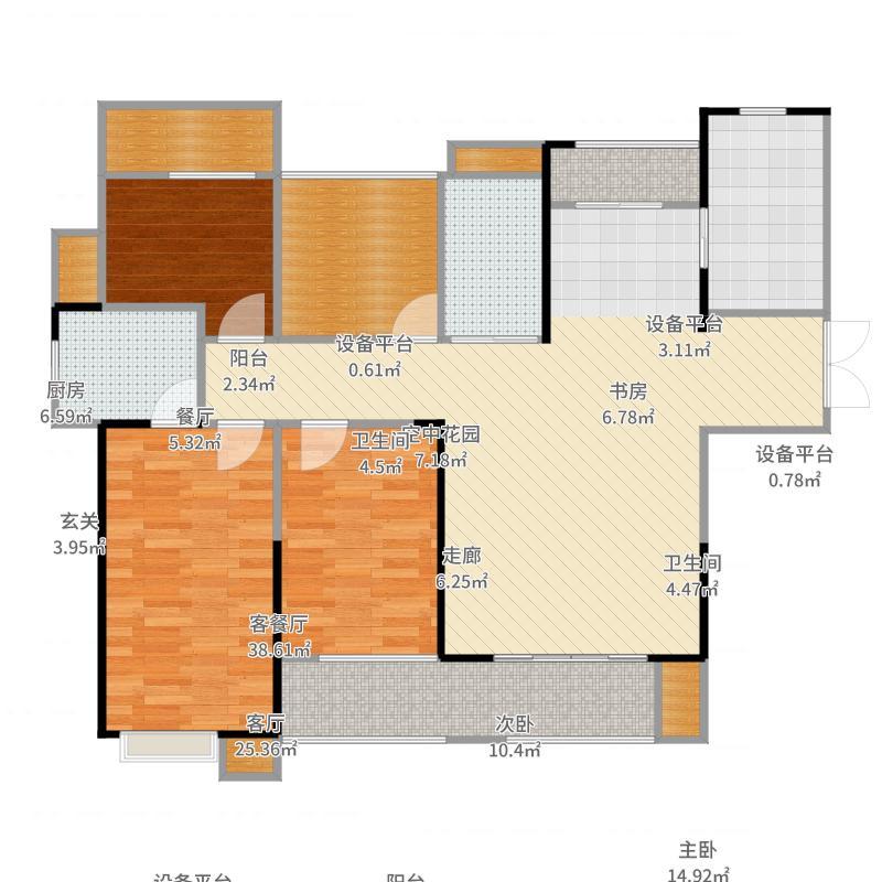 弘阳广场135.00㎡C户型135平米户型4室2厅2卫-副本户型图