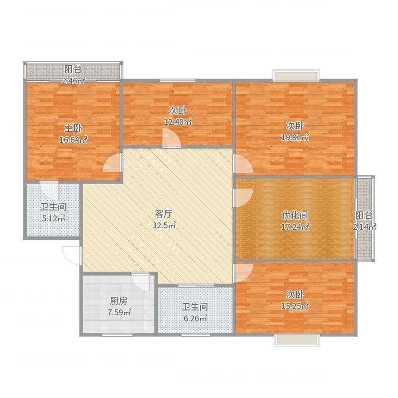 枫丹花园20号202室户型图