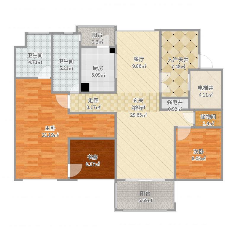 118方三室两厅(大主卧)户型图