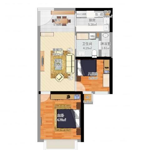 石林中心城1室2厅1卫1厨72.00㎡户型图