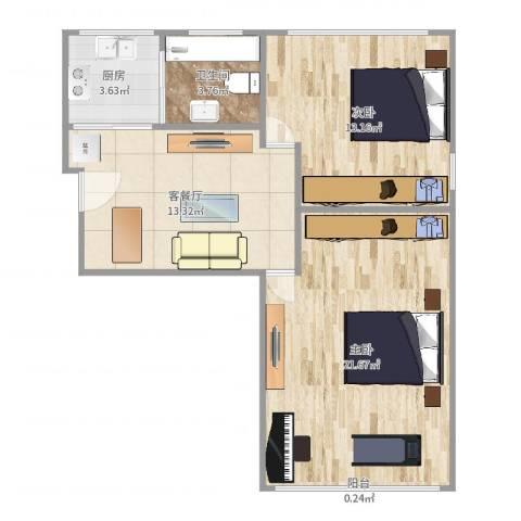佳虹小区2室2厅1卫1厨69.00㎡户型图