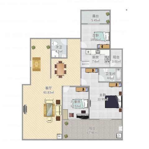 金科东方大院4室1厅1卫1厨186.00㎡户型图