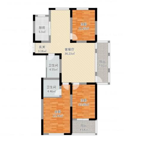 信远朗庭3室2厅2卫1厨129.00㎡户型图