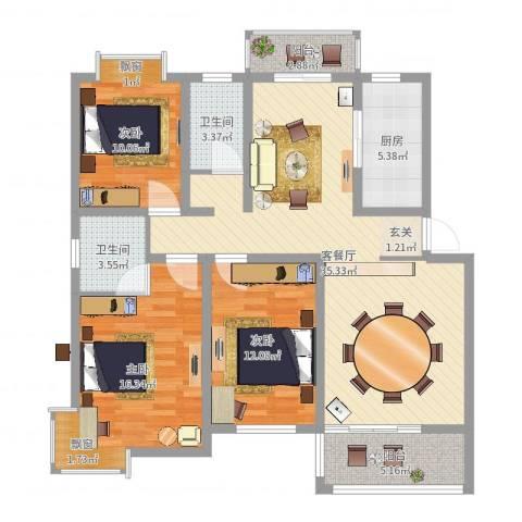 锦豪雍景园3室2厅2卫1厨118.00㎡户型图