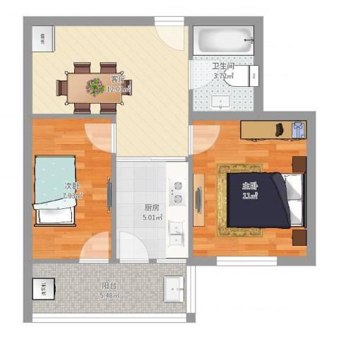 灵桥小区2室1厅1卫1厨56.00㎡户型图