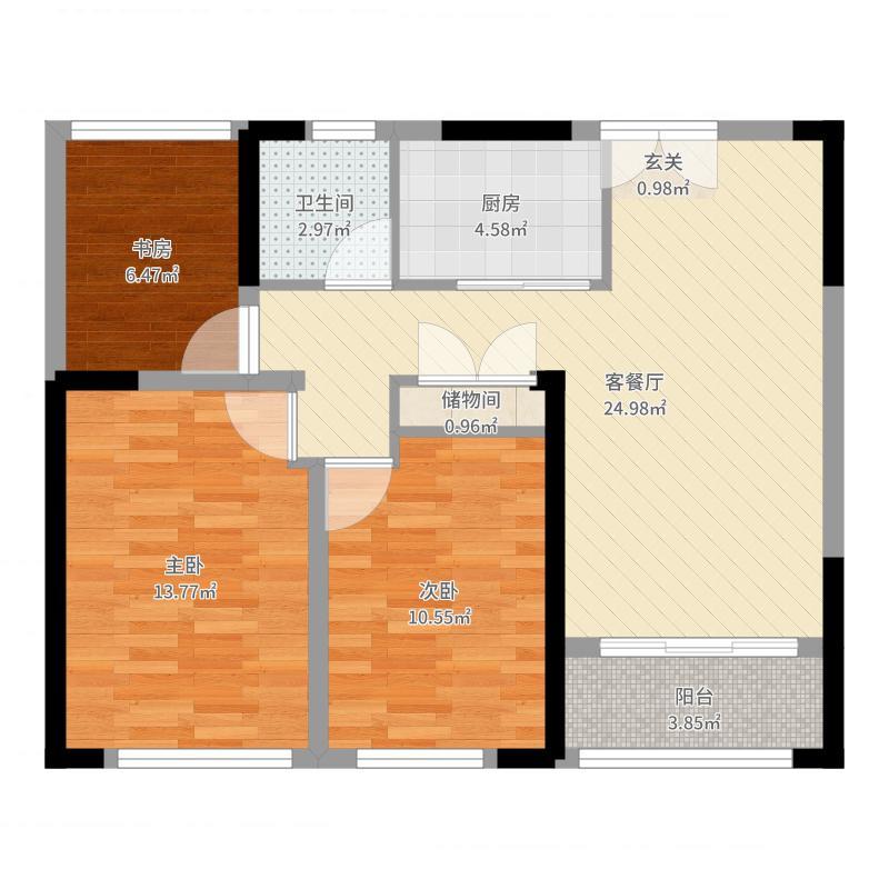 中南世纪城8.00㎡B2-98折页-02户型3室2厅1卫-副本户型图