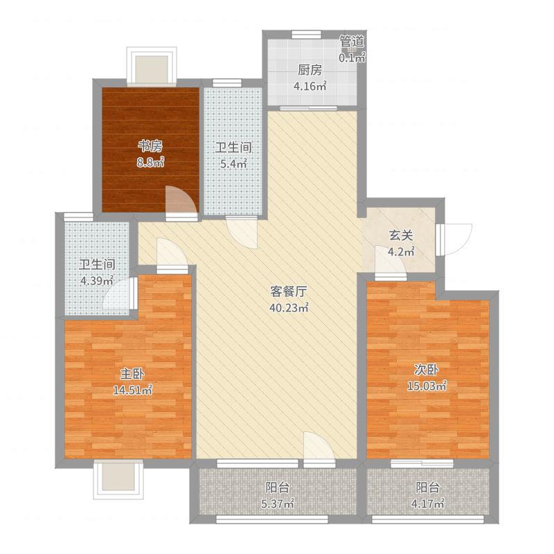 中铁诺德滨海花园130.00㎡B区17#、18#、19#楼N户型3室3厅2卫1厨户型图