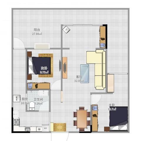 光华可乐小镇2室1厅1卫1厨120.00㎡户型图
