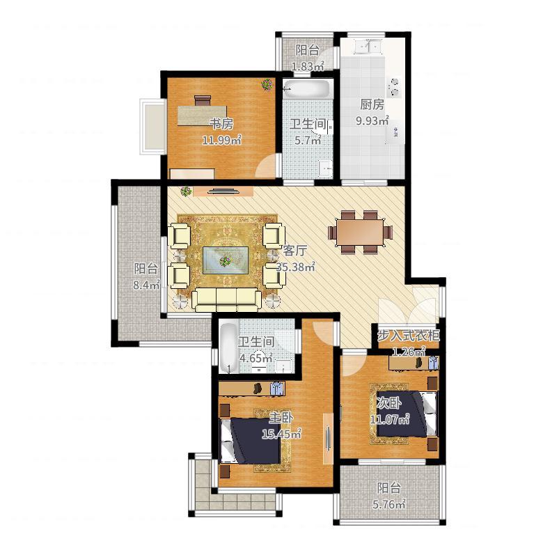 P品家都市星城(1期)134平米7栋02室户型图
