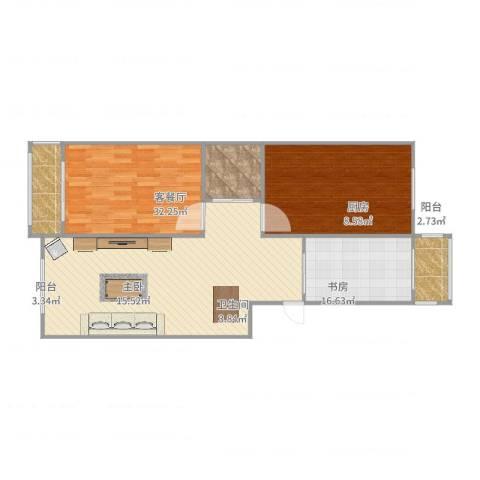 双发温泉花园2室2厅1卫1厨104.00㎡户型图