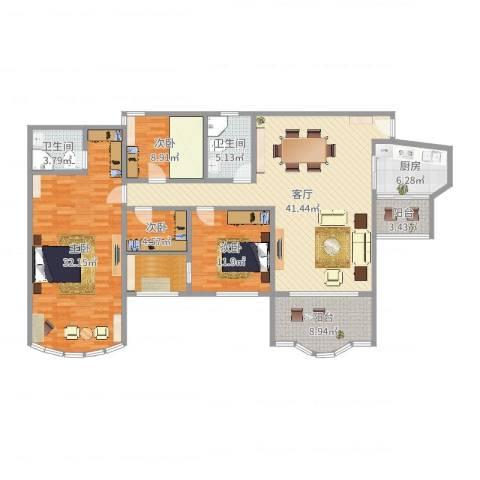 祈福新村晓峰园4室1厅2卫1厨163.00㎡户型图