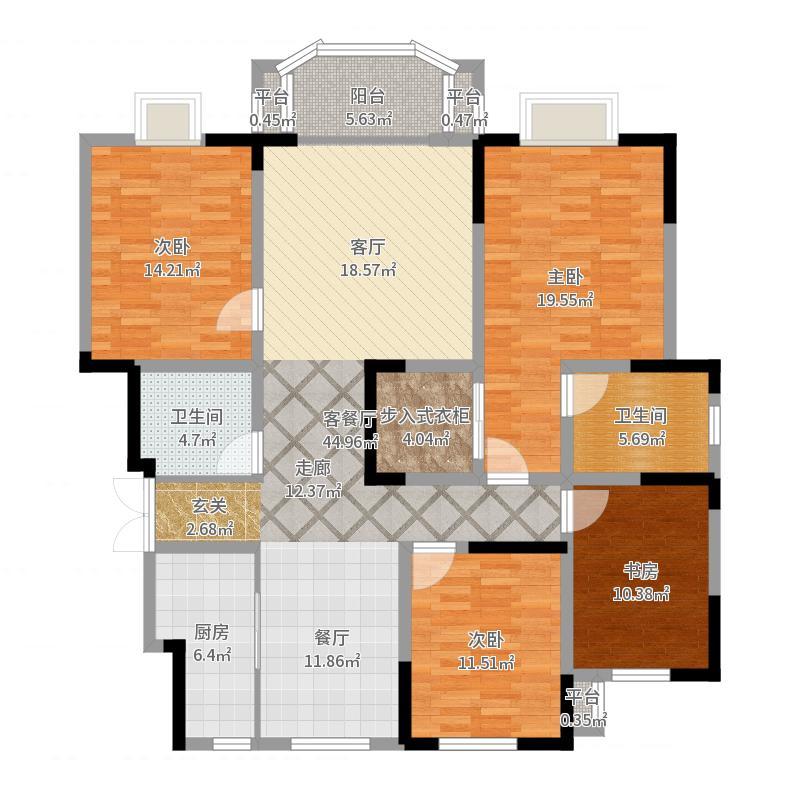路劲太阳城户型4室1厅2卫1厨-副本户型图
