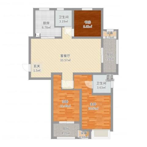 吾悦国际广场3室2厅2卫1厨118.00㎡户型图