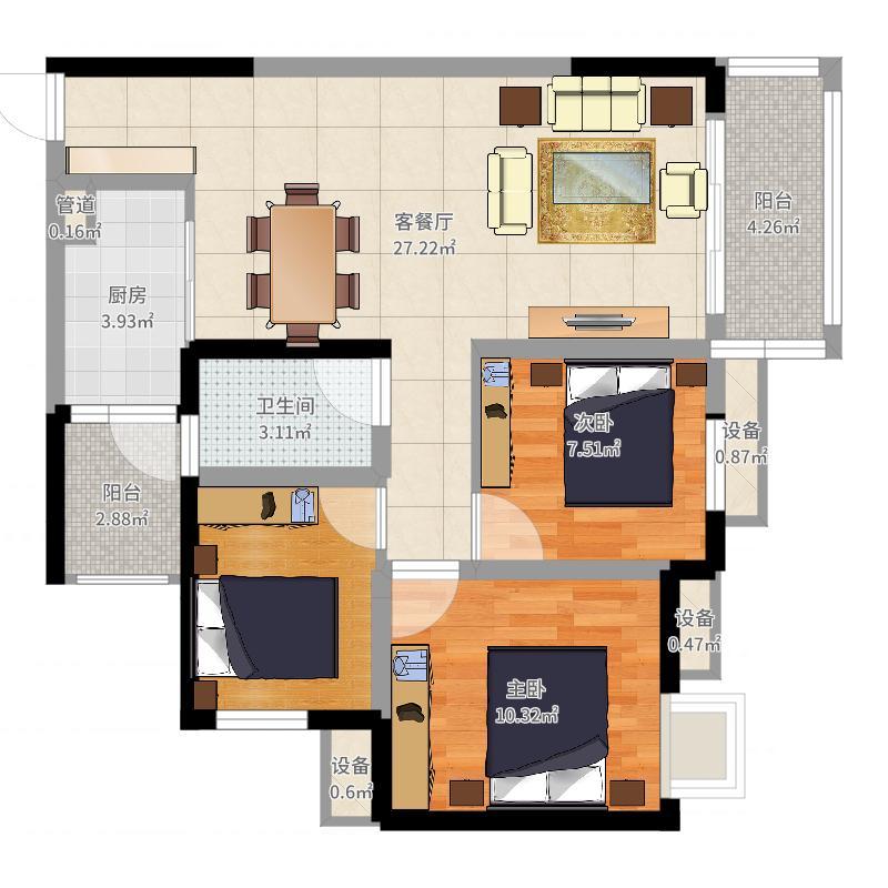 金科中央公园城100.00㎡一期A2、A3楼标准层7号户型-副本户型图