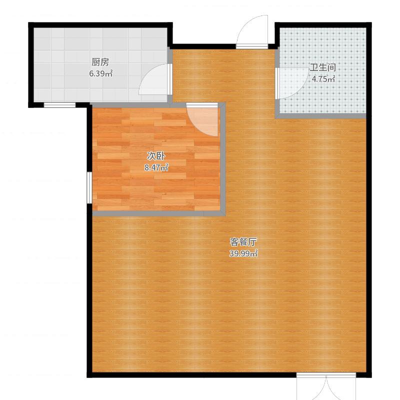 潮白河・孔雀英国宫91.13㎡C2户型2室2厅1卫户型图