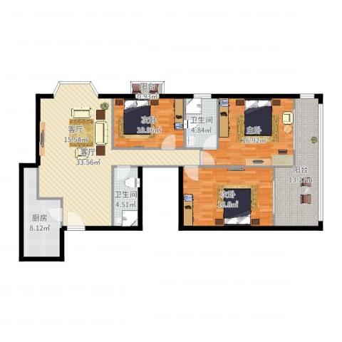 花市枣苑2-02户型3室1厅2卫1厨137.00㎡户型图