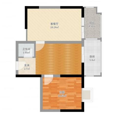 二十六街坊1室2厅1卫1厨69.00㎡户型图