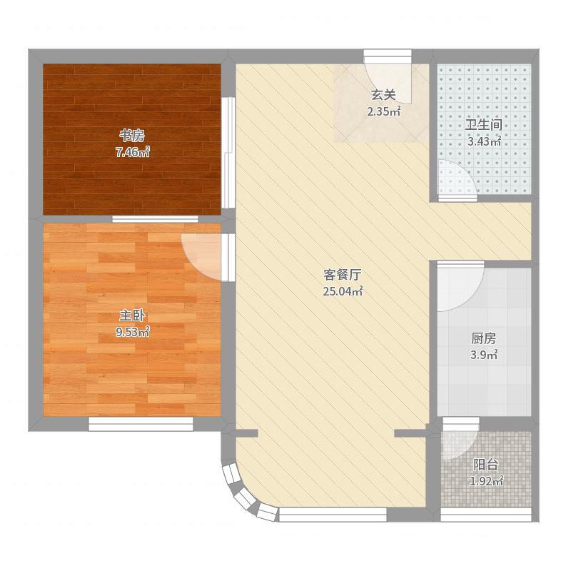 和平・中央公馆69.50㎡A4户型2室2厅1卫1厨户型图
