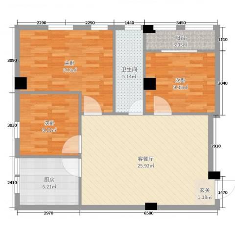 伟超置业大厦3室2厅1卫1厨85.00㎡户型图