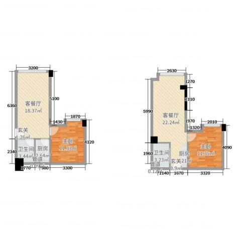 招商城市主场2室4厅2卫1厨72.81㎡户型图