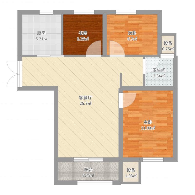 凯旋大道6#楼6A户型-副本户型图