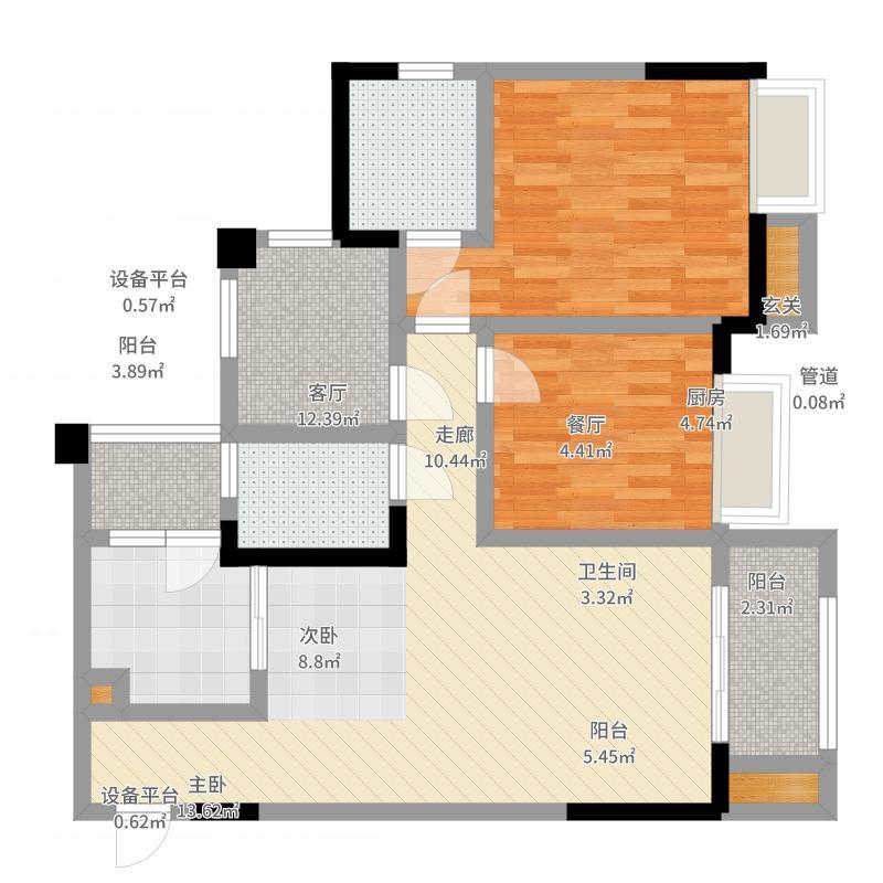 融科金湖湾79.78㎡一期2、1-2号楼标准层B3户型-副本户型图