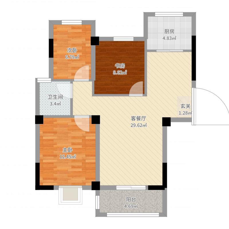 力标赞城88.00㎡A3户型3室3厅1卫1厨-副本户型图