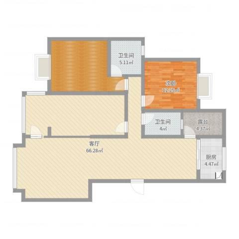 浩宇大城1室1厅2卫1厨140.00㎡户型图