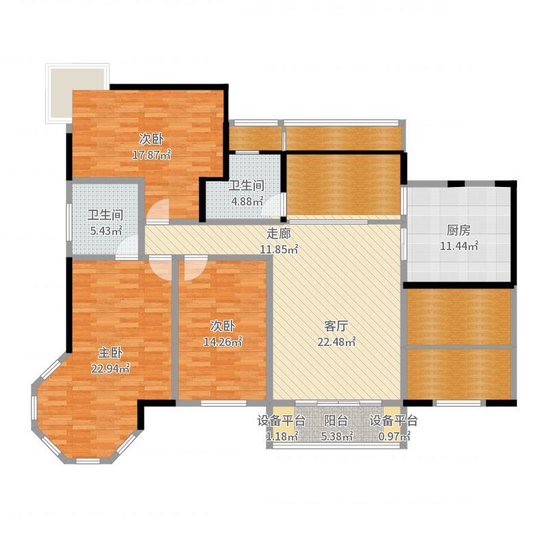 夏威夷水岸1号D1公寓户型4室2卫1厨户型图