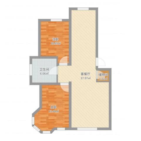 汉森香榭里2室2厅1卫0厨87.00㎡户型图