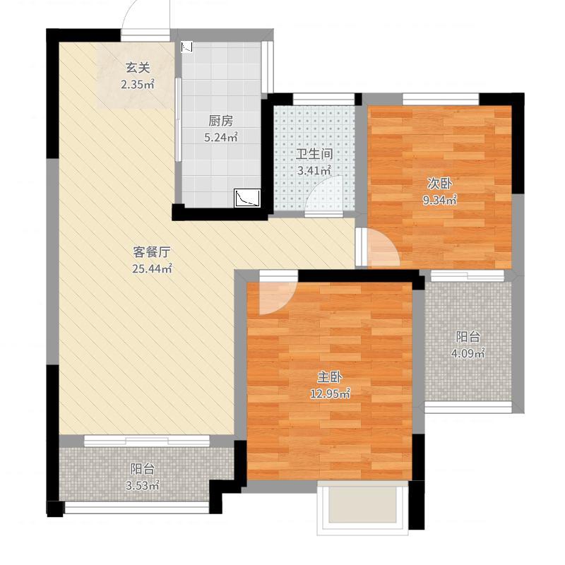 梧桐香郡80.67㎡7#标准层婀娜春梅户型2室2厅1卫1厨-副本户型图