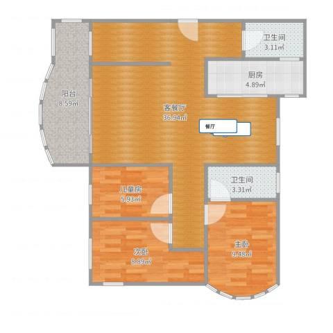 万禾春天243#10013室2厅2卫1厨101.00㎡户型图