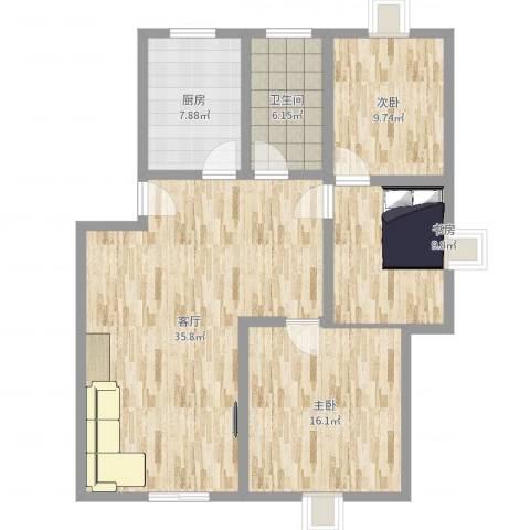 金江公寓3室1厅1卫1厨109.00㎡户型图