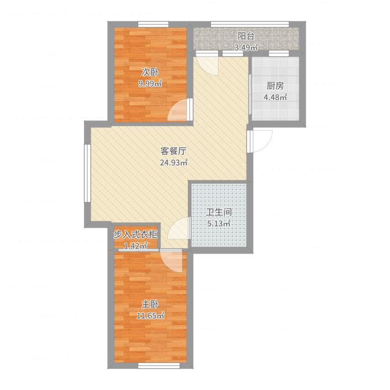 雷凯铂院88.74㎡B1户型2室2厅1卫1厨-副本户型图