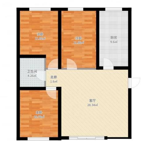 时代天骄3室1厅1卫1厨95.00㎡户型图