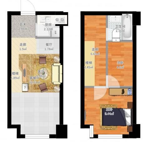 宝能青春汇2室2厅1卫1厨60.00㎡户型图