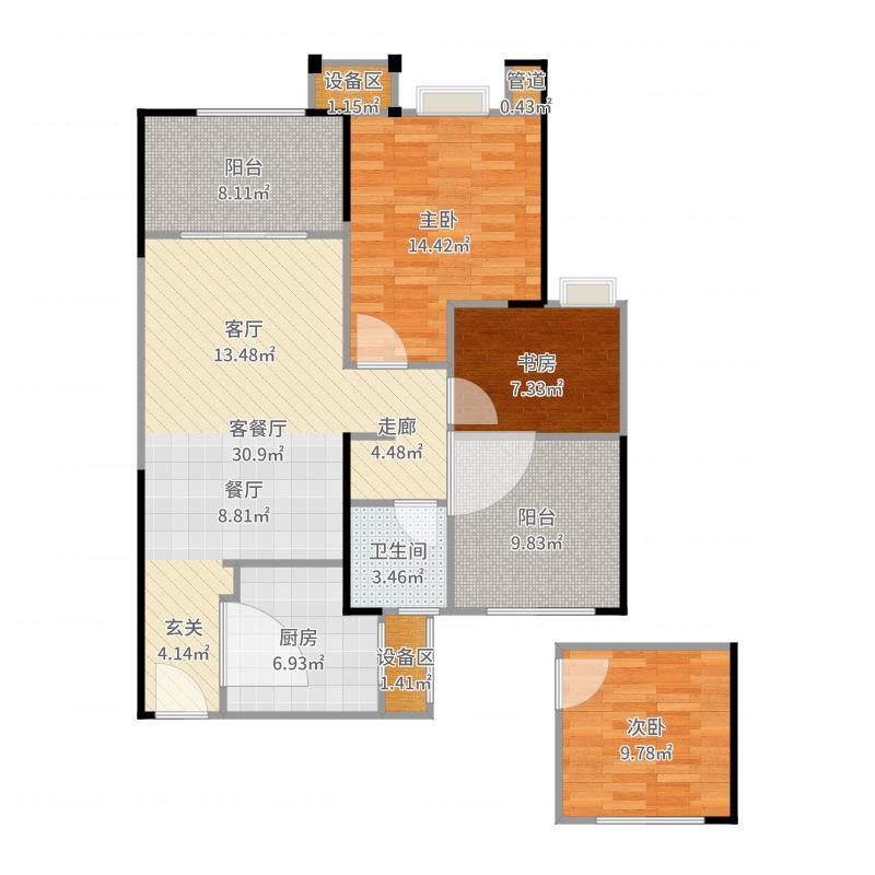 路劲城市主场87.00㎡1#楼A1户型87平米户型3室2厅1卫-副本户型图