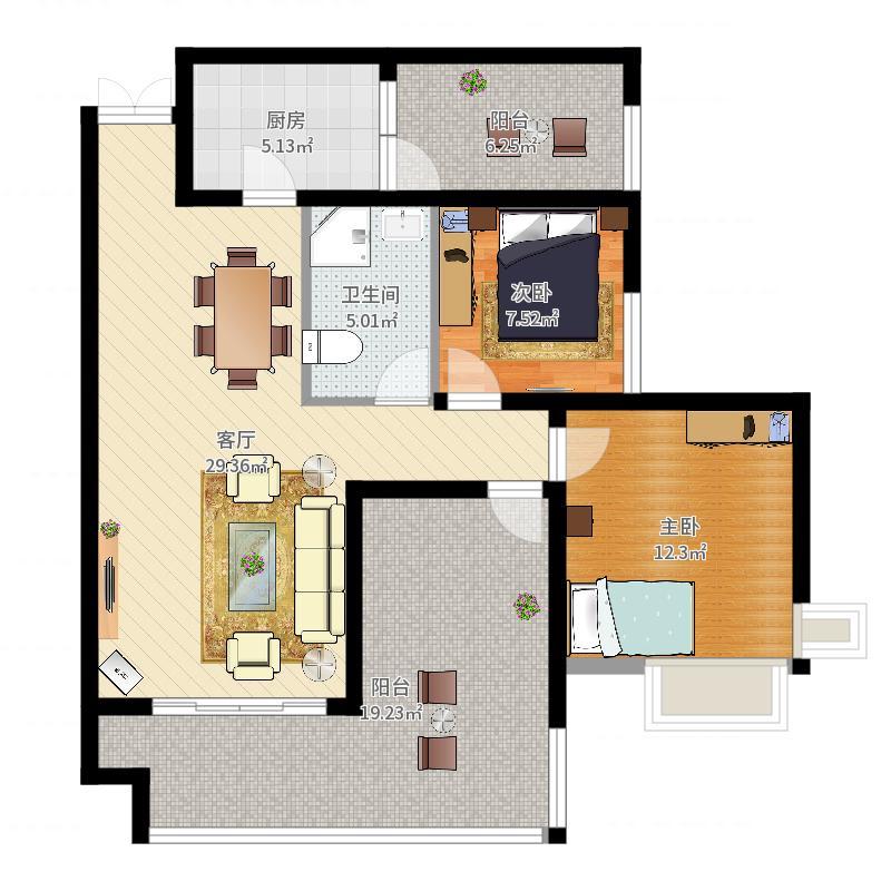 江润地中海岸82.05㎡一期高层13号楼B4户型2室1厅1卫1厨-副本户型图