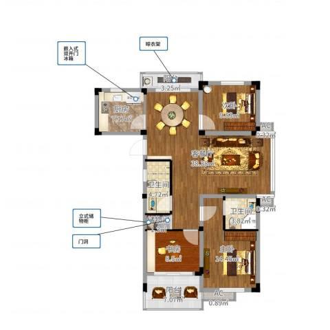 黟山郡南屏苑样板间3室2厅2卫1厨125.00㎡户型图