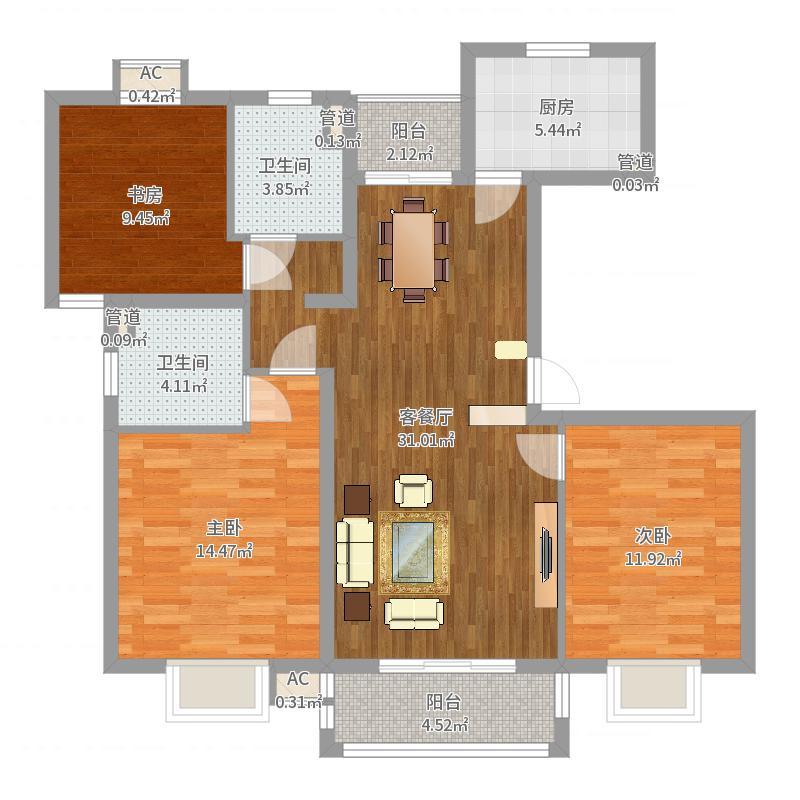 天台星城126.00㎡户型3室2厅2卫-副本户型图
