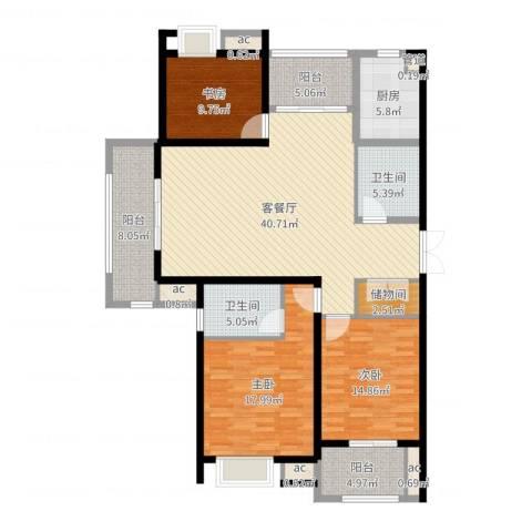 中乐江南名都3室2厅2卫1厨154.00㎡户型图