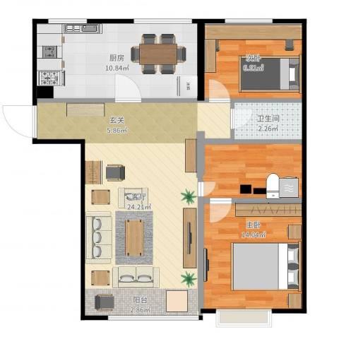 周庄嘉园三期2室1厅1卫1厨72.00㎡户型图