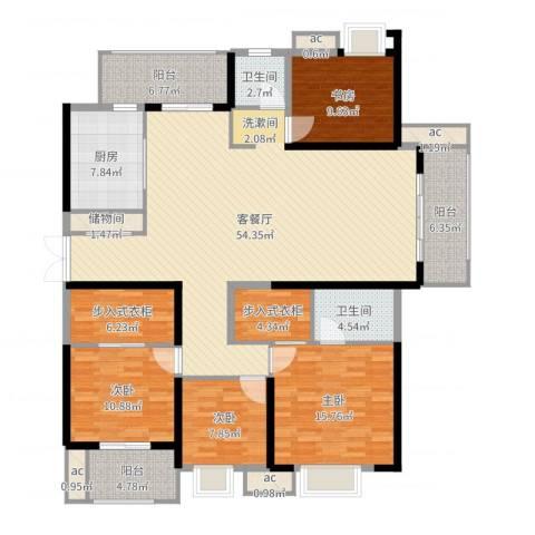 中乐江南名都4室2厅2卫1厨184.00㎡户型图