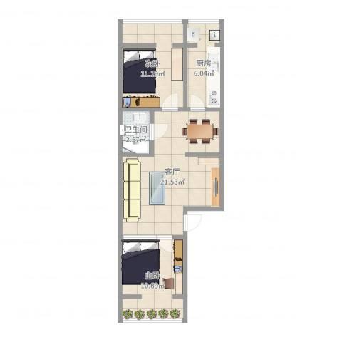 车站中里2室1厅1卫1厨65.00㎡户型图