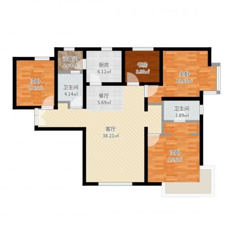富力新城4室1厅2卫1厨125.00㎡户型图