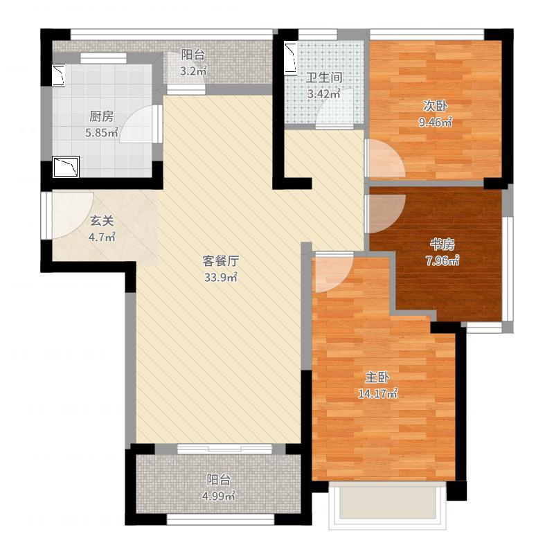 华府天地・尊园102.00㎡B2户型3室3厅1卫1厨户型图