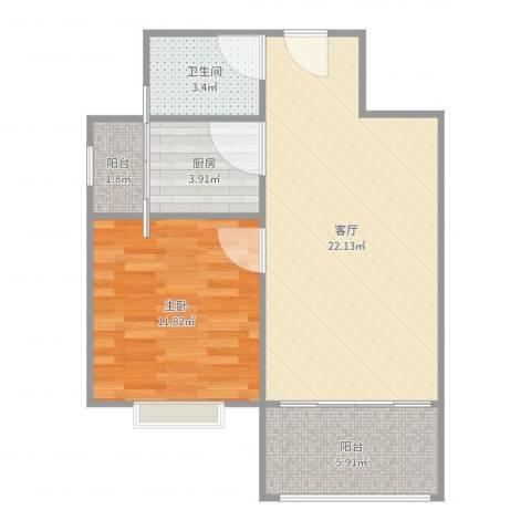 天鑫家园二期1室1厅1卫1厨61.00㎡户型图
