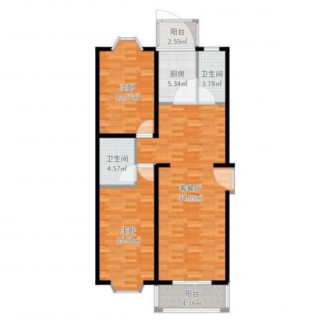 天鑫家园二期2室2厅2卫1厨105.00㎡户型图