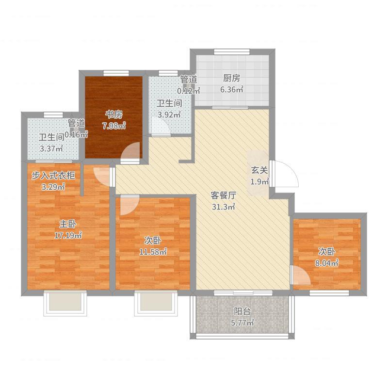 招商兰溪谷120.00㎡一期16#、17#标准层C户型4室4厅2卫1厨户型图